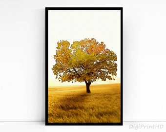 Fall tree poster Watercolor tree wall art prints Tree print Tree printable art Wall decor Watercolor art Downloadable prints Autumn tree
