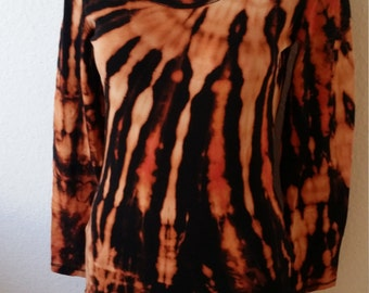 Black & Orange Long Sleeve Ladies Batik Unique