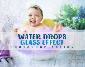 Water Drops Glass Effect photoshop action,Art photoshop Action,Wedding photoshop Action,Model photoshop Action,Photo Action-Instan Download