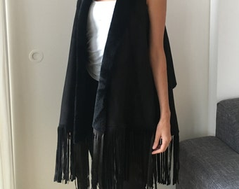 Shearling Shawl Gilet with Fringes Black, One Size Fits All