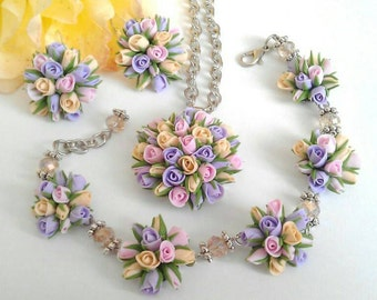 Polymer clay flower jewelry. Small roses. Polymer clay earrings,pendant and braslet.  Gift for women or girl.