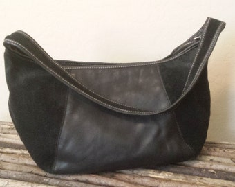 Black Leather and Suede Hobo Handbag...No Makers Mark