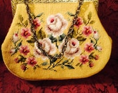 Needlepoint Tapestry Floral, Yellow Purse.