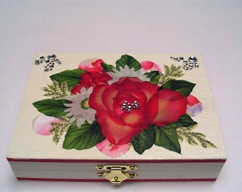 Business card box, playing card box, rose box, wood card box, fabric roses, daisies and leaves, beaded, two compartments