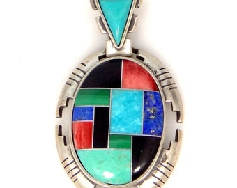 Carlisle Jewelry Pollack Sterling Silver Inlaid Gemstones Pendant