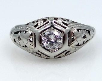 Art Deco 18k White Gold Filigree Solitaire Diamond Ring