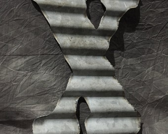 X - Recycled Antique Roofing Tin Letter by JunkFX