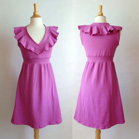Womens Vneck Dress, Empire waist dress, sleeveless dress, Holiday Party Dress, Ruffle Collar knee length cocktail dress - made to order