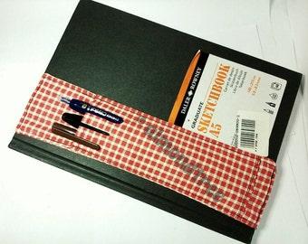 Red notebook alt pencil case planner elastic bandolier pen holder filofax sketchbook journal id20160531 artist writing camping tool