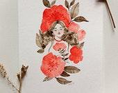 Rosa Rugosa - Original Small Watercolor Painting