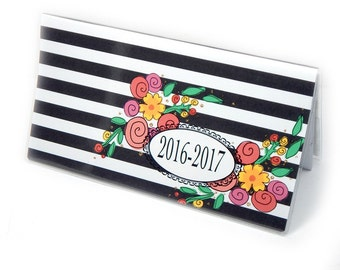 2016 - 2017  mini Planner - Modern Floral Stripe - pocket planner - two year planner - chic 2 year monthly planner horizontal