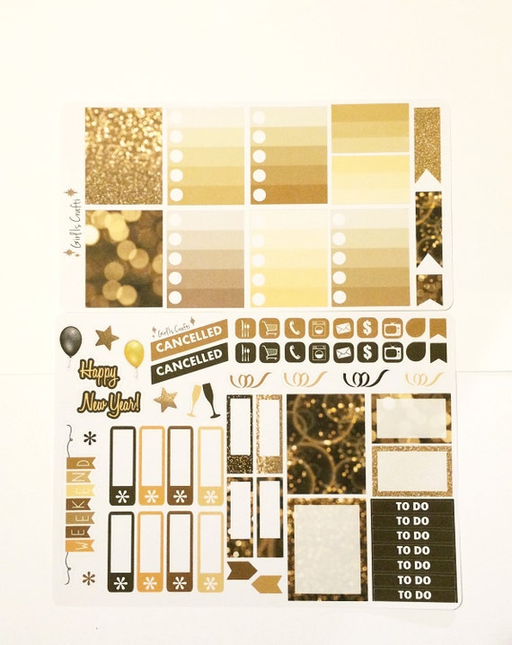 New Year Weekly Kit Stickers for your VERTICAL Planner