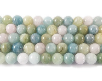Beryl Morganite Multi Stone Round Gemstone Beads