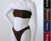 High Leg 80s Bikini Bottom and Bandeau Bikini Top in Black, Navy Blue, Brown, Burgundy
