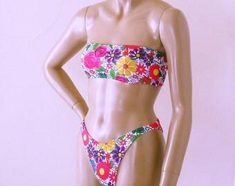 80s High Leg Brazilian Bikini Bottom and Strapless Bandeau Top in White Posies Print