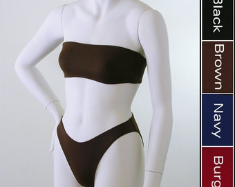 High Leg 80s Bikini Bottom and Bandeau Bikini Top in Black, Navy Blue, Brown, Burgundy