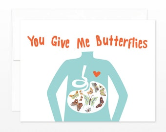 SALE Funny Valentine Card, Love Card, Anniversary Card - Butterfly Stomach - Card for Him, Card for Husband, for Boyfriend, Card for Wife