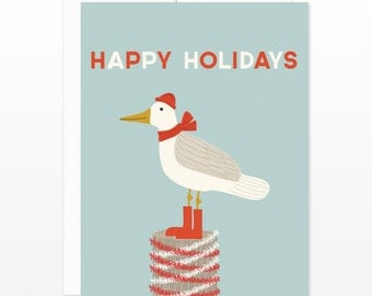 Seagull Christmas Card, Holiday Greeting Card, Nautical Christmas, Happy Holidays Winter Sea Gull, card for coworkers, funny xmas card
