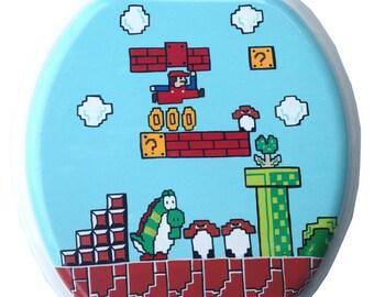 Mario Hand Painted Toilet Seat & Inside Lid PLAYER ONE UP Nintendo 8 Bit Geekery Video Game Arcade Dad Grad Gift Bathroom Remodel