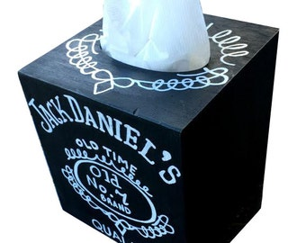 Jack Daniel's Hand Painted Tissue Box Matches Toilet Seat in my Shop