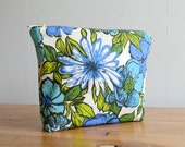 Blue Vintage Floral Zipper Pouch, Toiletry Bag, Travel Pouch, Charger Holder