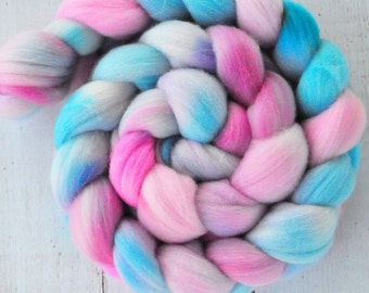 Hand Dyed Merino Top Wool Roving - Hand Painted - Spinning - Felting - Cotton Candy - 3.9 Ounces