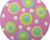 Pink Yellow Aqua Blue Green Polka Dots Hand Painted Wood Decorative Girls Children Nursery Kids Dresser Knobs Drawer Knobs Pulls Kids Decor