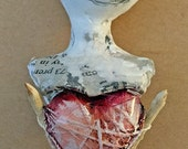 Wishbone heart, bust ornament