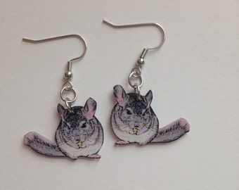 Handcrafted Plastic Chinchilla Earrings Made in USA