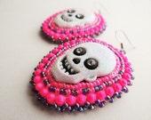 Neon Pink & Purple Beaded Skull Earrings