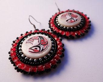 Native American Beaded Earrings Red Salmon