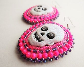 Neon Pink & Purple Beaded Skull Earrings
