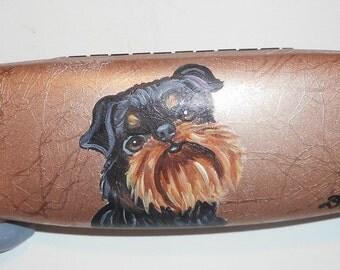 Brussels Griffon Dog  Hand Painted Eyeglass Case Vegan