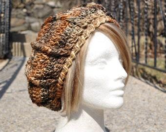 Crocheted Beret - Women's Hat - Brown Multicolored Hat - Winter Accessories - Crochet Hat