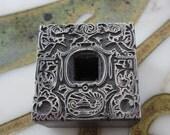 Vintage Letterpress Printers Block Metal Ornamental Initial Frame with Cherub