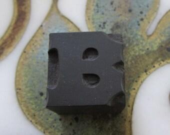 Antique Letterpress Wood Type Printers Block Letter B