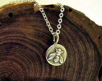 Little Bee Necklace, sterling silver bee jewelry by Kathryn Riechert