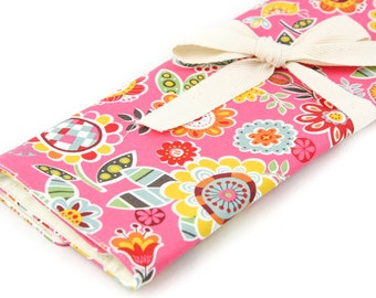 Knitting Needle Case   - Loose Floral Pink - Large Organizer 30 ivory pockets for straights, double points and circulars