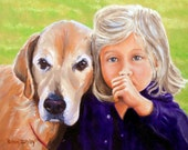 Custom Portrait Painting Child and Dog