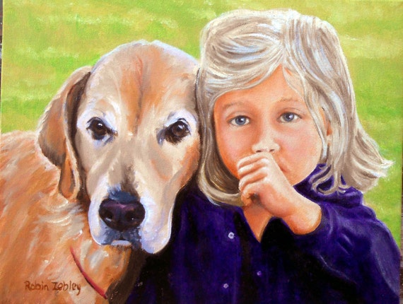 Custom Portrait Painting Kid with Dog