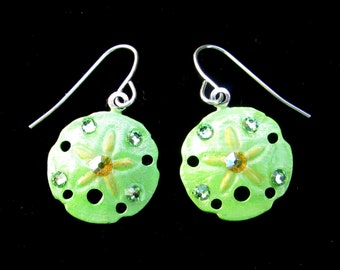 Sanddollar Earrings Handpainted Pearlescent Lime Green and Yellow
