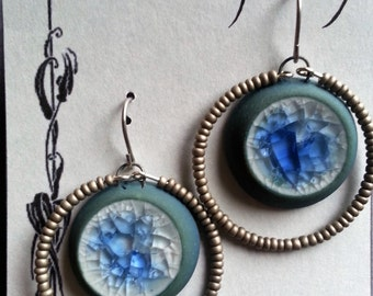 Earrings in Blues and grey Stoneware Clay and Recycled Glass earrings