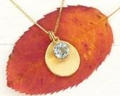Aquamarine Petal Pendant in 18k Gold, Eco Friendly, Handmade in the UK