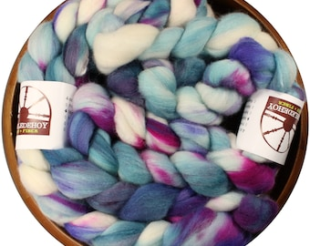 White Willow - hand-dyed Merino wool and silk (4 oz.) painted combed top