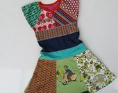 Size 6 (45 3/4 inch) Upcycled tshirt dress multicolor with flared skirt