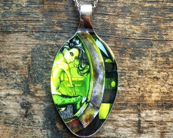 RW2 Steampunk Mermaid Spoon 3D Necklace Pendant Surreal Art by Robert Walker