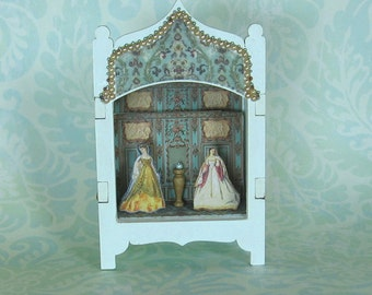 Miniature Toy Theater Vignette in Pale Aqua