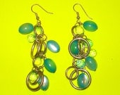 Vintage 1980s Blue and Silver Beaded Large Dangle Drop Earrings