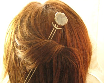 Snowy Druzy sterling silver hair comb spear Drusy