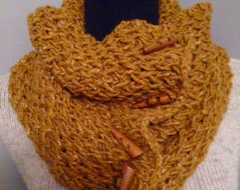 Butterscotch Tweed Knitted Cowl Neck Warmer with 4 Reclaimed Wood Toggle Buttons